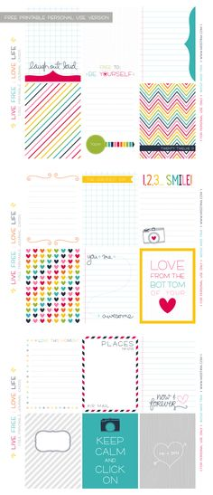 Project Life free printable journal cards