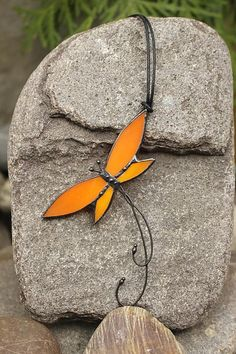 Orange red Butterfly Romantic present jewerly pendant red