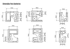 tipos de banheiros Small Bathroom Dimensions, Small Bathroom Floor Plans, Bathroom Layout Plans, Ada Bathroom, Small Bathroom Layout, Small Floor Plans, Bathroom Design Layout, Small Bathroom With Shower, Tiny Bathrooms