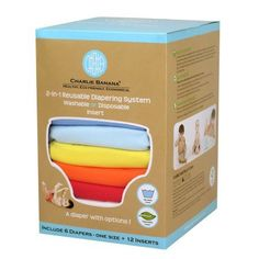 Charlie Banana 6 Cloth Diapers and 12 Insert Kit, Hot One (Unisex), One Size, Multicolor