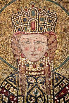 Irene, Byzantine Empress Consort 1118-34, detail from Comnenus mosaic, Hagia Sophia, Istanbul, 12th century