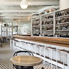 Modern bar stools by Roman and Williams at the Standard Grill