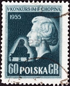 POLAND - CIRCA 1955  A stamp printed in Poland from the  5th International Chopin Piano Competition  2nd issue shows Bust of Chopin  after L  Isler , circa 1955