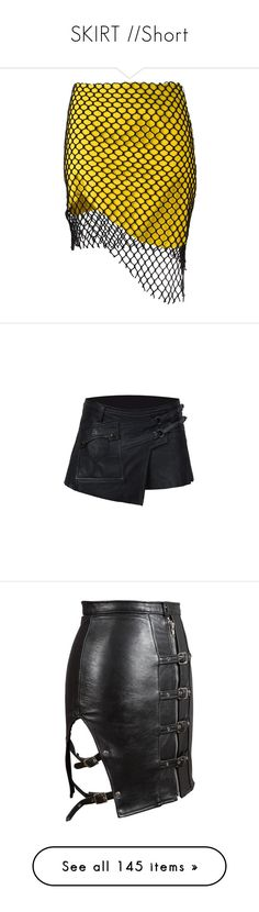 """""""SKIRT //Short"""" by beneath-the-mystic-moon ❤ liked on Polyvore featuring skirts, bottoms, mesh overlay skirt, asymmetrical skirts, marques almeida skirt, yellow skirt, saias, black, mini skirts and punk skirt"""