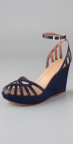 Blue birdcage wedges make me happy. #SigersonMorrison $550