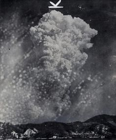 Made from the town of Yoshiura, Japan, on the other side of a mountain north of Hiroshima, a found photograph shows smoke rising from the explosion of the atomic bomb. 1945