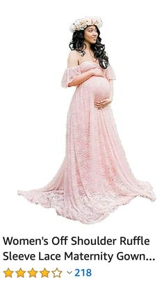 7901ba714b71f Women's Off Shoulder Ruffle Sleeve Lace Maternity Gown Maxi Photography  Dress, maternity dress for photoshoot