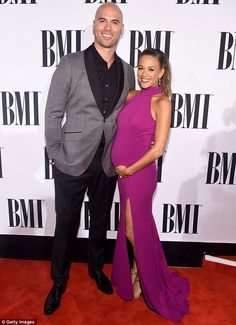 Proud parents-to-be: Jana Kramer and Mike Caussin made one gorgeous couple at the BMI Country Awards in Nashville, Tennessee on Tuesday