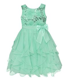 http://www.zulily.com/invite/vhanson979 Take a look at this Spring Green Sequin Ruffle Dress - Infant, Toddler & Girls by American Princess on #zulily today!