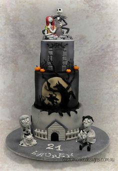 """This huge cake was made for Lauren who is an avid Tim Burton fan and wanted """"Frankenweenie"""", """"Sleepy Hollow / Headless Horseman"""" and """"A Nightmare before Christmas"""" featured on her cake. Inspiration for the Sleepy Hollow tier was taken from the..."""