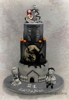 "Tim Burton theme cake:  ""Frankenweenie"", ""Sleepy Hollow / Headless Horseman"" and ""A Nightmare before Christmas"""