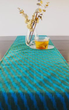 Table Runner  Blue Ikat 11 x 72 inches Perfect as a housewarming gift by PLBoutique, $15.00