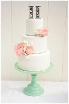 Wedding+Cake+Topper+Monogram+Scroll+Topper+by+ThePinkOwlDesigns,+$20.00