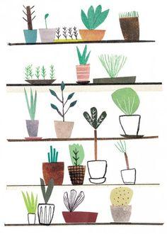 'Podlej roślinki' by Agata Królak Kaktus Illustration, Pattern Illustration, Graphic Design Illustration, Digital Illustration, Wall Drawing, Art Drawings, Book Cakes, Plant Art, Texture Art