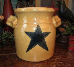 Primitive Antique Vtg Style Star Churn Ceramic Stoneware Jar Wax Sealer Crock #NaivePrimitive