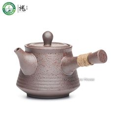 Brown Side Handle Kyusu Ceramic Japanese Style Teapot With Inbuilt Filter 270Ml