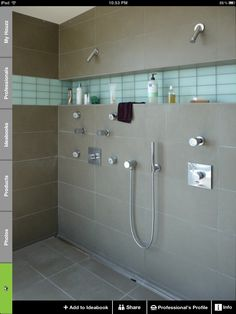shower & tile, inset shelf. glass tile in window with light behind?