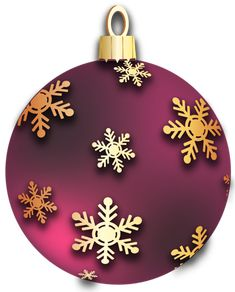 Transparent Red Christmas Ball With Golden Snowflakes Ornament Clipart