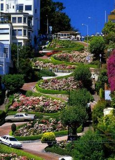 Lombard Street, San Francisco, California.   Even steeper and windier than it looks.  Crazy