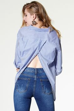 Kylie Striped Open-back Shirt Discover the latest fashion trends online at storets.com