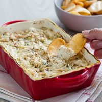Baked Hot n' Creamy Crab Dip... I would add more shredded cheese in the mixture prior to baking.