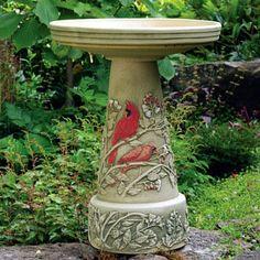 Summer Cardinal Bird Bath