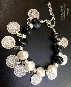 браслет, монетки, агаты, жемчуг, серебро
