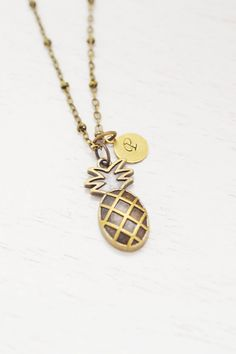 pineapple necklace,pineapple charm jewelry,fruit necklace,personalized,monogram,custom initial gift,bridesmaid,daughter birthday,christmas