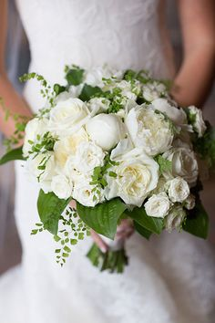 Classic White Bouquet with Touches of Greenery | Brides.com