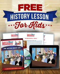 """Are your kids learning about God's role in US history?  Keep God in your children's history lessons with Learn Our History's animated DVD adventures! As your kids join a group of time-traveling history students, they'll get a front row seat to history in the making and learn how God has impacted our great nation! Get your first episode, """"One Nation Under God"""" for *FREE*. Just pay $1 s&p when you try Learn Our History.  Includes FREE online streaming and FREE downloadable learning guides!"""