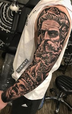 Amazing artist Dode Pras from awesome Pos. - Amazing artist Dode Pras from awesome Poseidon angel horse r - Zeus Tattoo, Statue Tattoo, Poseidon Tattoo, Half Sleeve Tattoos For Guys, Arm Sleeve Tattoos, Leg Tattoo Men, Tattoo Sleeve Designs, Tattoo Designs Men, Mens Full Sleeve Tattoo