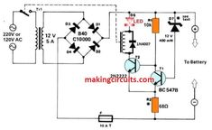 Electrical Circuit Diagram, Home Electrical Wiring, Electrical Projects, Electrical Engineering, Simple Electronics, Electronics Projects, Electronic Circuit Design, Battery Charger Circuit, Battery Terminal