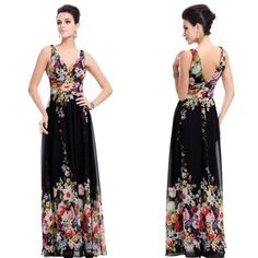 Ever Pretty Sexy Double V Neck Floral Printed Chiffon Prom Dress 09636 Evening Dresses 2014, Chiffon Evening Dresses, Chiffon Dress, Evening Gowns, Chiffon Floral, Print Chiffon, Tea Length Bridesmaid Dresses, Prom Party Dresses, Prom Gowns
