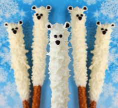 How cute! Yummy Polar Bear Pretzel Pops would be great for a winter birthday party... | AllFreeKidsCrafts...