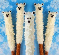 How cute! Yummy Polar Bear Pretzel Pops would be great for a winter birthday party... | AllFreeKidsCrafts.com