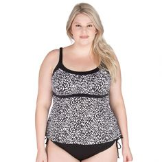 61237e4831 Plus Size Swimsuit Top From Caribbean Joe - Native Beat Framed Peasant Top