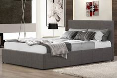 £209 Birlea Berlin Ottoman Bed in Grey Fabric | 4ft Small Double