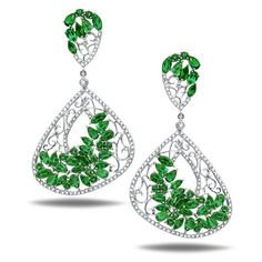Casa Reale earrings featuring 18KT  WHITE GOLD  2.45TCW  DIAM  11.07CT  EMERALDS