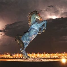 The visually unsettling 32 foot demon horse at Denver International Airport. The artist was crushed to death while sculpting the statue.