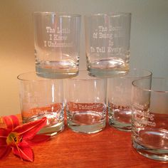 Six vintage cocktail glasses with different phrases on each by FromTheSeller on Etsy