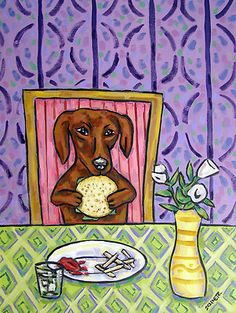 DACHSHUND EATING A VEGGIE BURGER kitchen dog art print 8x10 schmetz gift