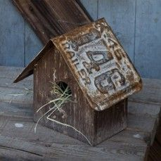Reclaimed Wood Birdhouse With License Plate Roof