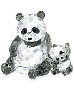 Swarovski Collectible Figurine, Panda Mother with Baby