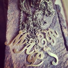 Antique Brass Initial Necklace
