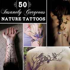 """""""50 Insanely Gorgeous Nature Tattoos"""" - good inspiration for sprawling branches"""