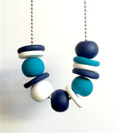 Navy, Turquoise and White Polymer Clay Necklace