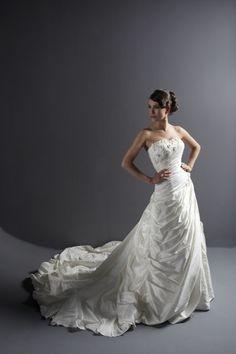 Taffeta Wedding Dress With Side Drapping