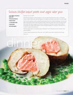Salmon stuffed baked potato and apple cider peas