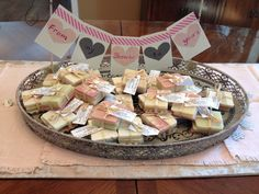 "Handmade soap bridal shower favors with handmade sign that says, ""From my shower to your's"" Designed by Beth Sanders"