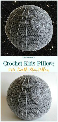 Crochet Death Star Pillow Free Pattern -Fun #Crochet Kids #Pillows Free Patterns